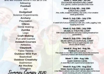 Clonmany Community Centre Summer Camp Brochure 2020