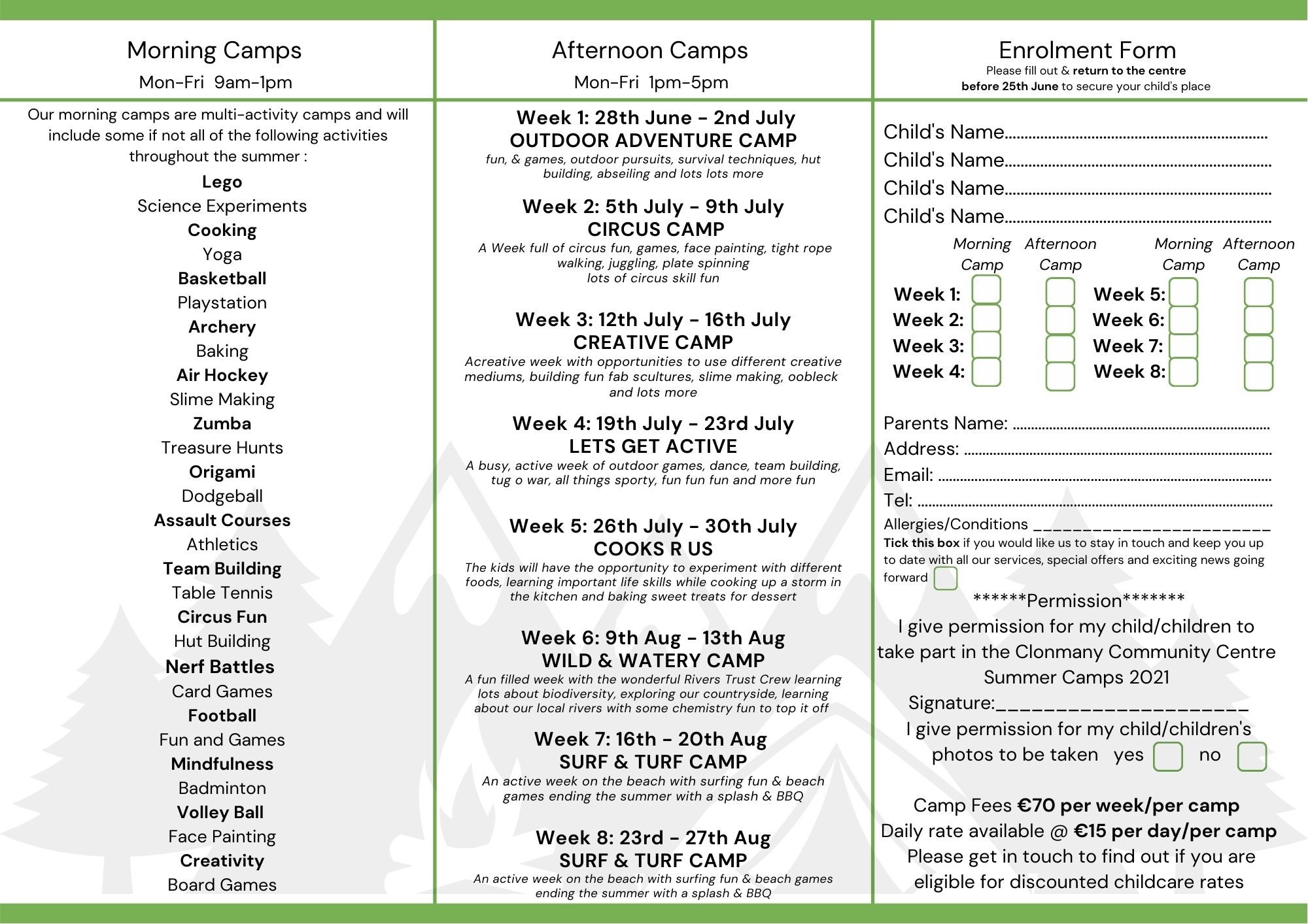 Image of Clonmany Community Centre Summer Camp 2021 Enrolment Form page 2